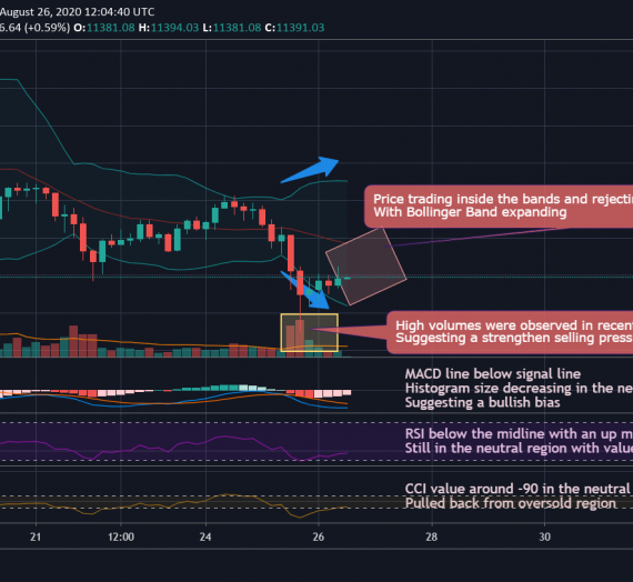 Mudrex 4Hr Price Analysis #166 Bitcoin (BTC/USD) – 26th August 2020