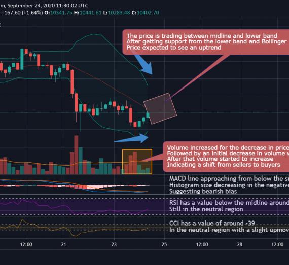 Mudrex 4Hr Price Analysis #209 Bitcoin (BTC/USD) – 24th September 2020